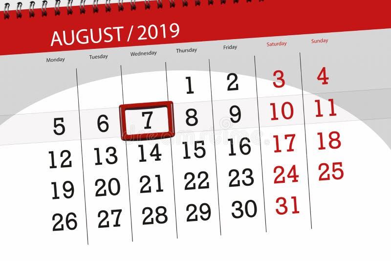 Planificateur de calendrier pour le mois, jour de date-butoir de la semaine 2019 auguste, 7, mercredi images stock