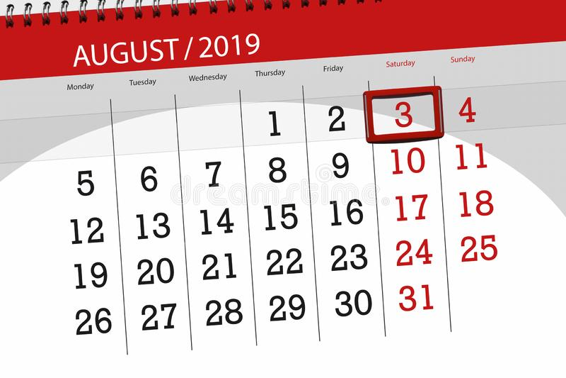 Planificateur de calendrier pour le mois, jour de date-butoir de la semaine 2019 auguste, 3, samedi image libre de droits