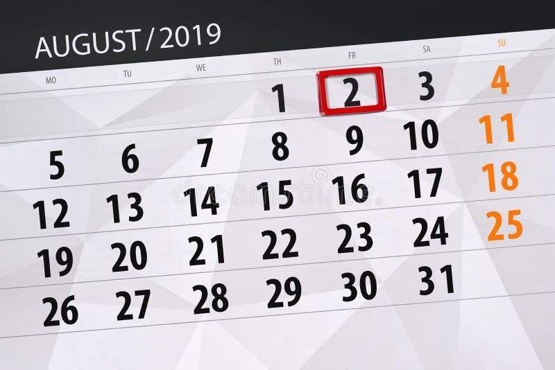 Planificateur de calendrier pour le mois, jour de date-butoir de la semaine 2019 auguste, 2, vendredi image libre de droits