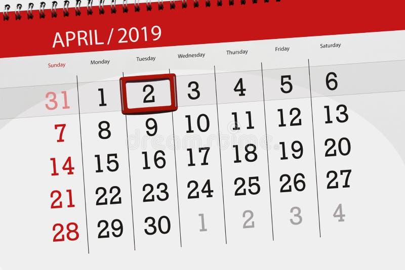 Planificateur de calendrier pour mois en avril 2019, jour de date-butoir, mardi 2 illustration stock