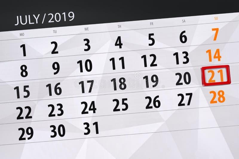 Planificateur de calendrier pour mois en juillet 2019, jour de date-butoir, dimanche 21 images stock