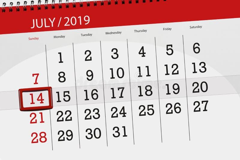 Planificateur de calendrier pour mois en juillet 2019, jour de date-butoir, dimanche 14 photographie stock