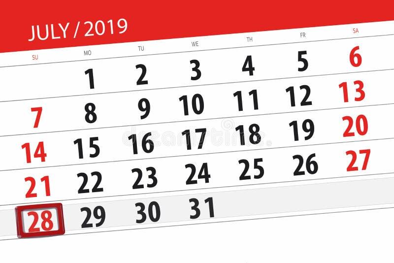 Planificateur de calendrier pour mois en juillet 2019, jour de date-butoir, dimanche 28 photo libre de droits