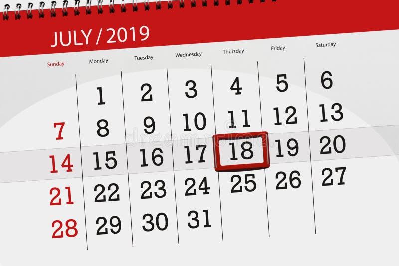 Planificateur de calendrier pour mois en juillet 2019, jour de date-butoir, jeudi 18 photos stock