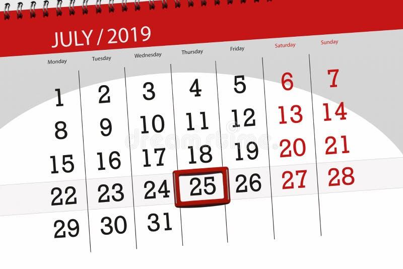 Planificateur de calendrier pour mois en juillet 2019, jour de date-butoir, jeudi 25 images libres de droits