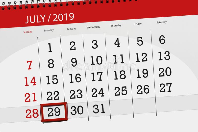 Planificateur de calendrier pour mois en juillet 2019, jour de date-butoir, lundi 29 image libre de droits