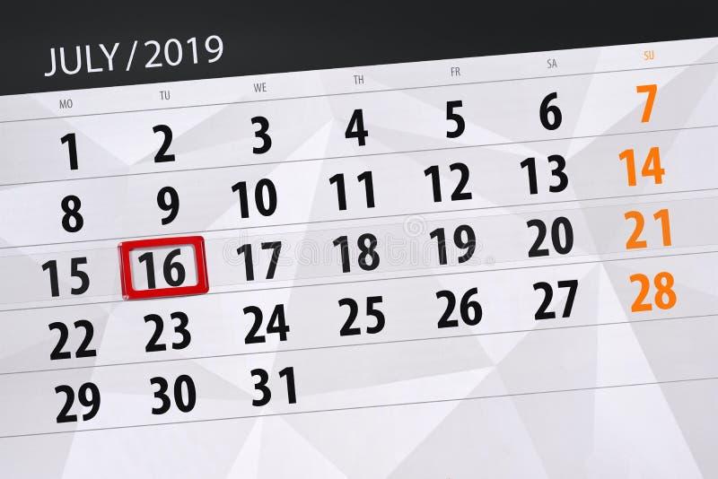 Planificateur de calendrier pour mois en juillet 2019, jour de date-butoir, mardi 16 photos libres de droits