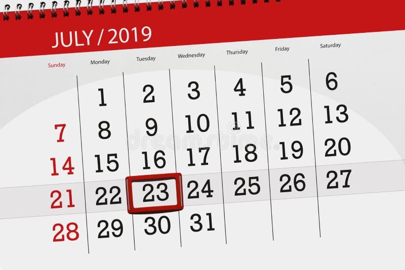 Planificateur de calendrier pour mois en juillet 2019, jour de date-butoir, mardi 23 photos stock