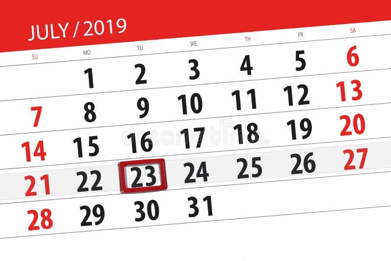 Planificateur de calendrier pour mois en juillet 2019, jour de date-butoir, mardi 23 photos libres de droits