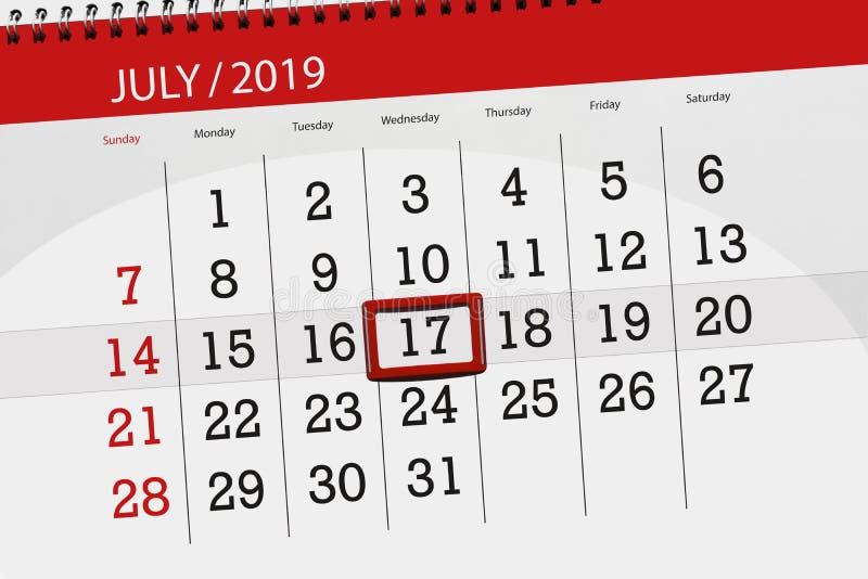 Planificateur de calendrier pour mois en juillet 2019, jour de date-butoir, mercredi 17 photos libres de droits