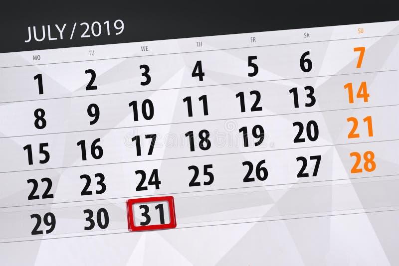 Planificateur de calendrier pour mois en juillet 2019, jour de date-butoir, mercredi 31 photos libres de droits