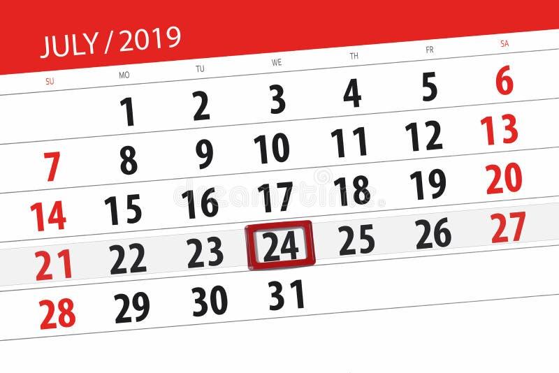 Planificateur de calendrier pour mois en juillet 2019, jour de date-butoir, 24 mercredis photos libres de droits