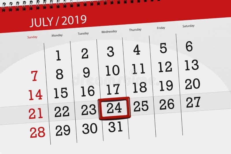 Planificateur de calendrier pour mois en juillet 2019, jour de date-butoir, 24 mercredis images stock