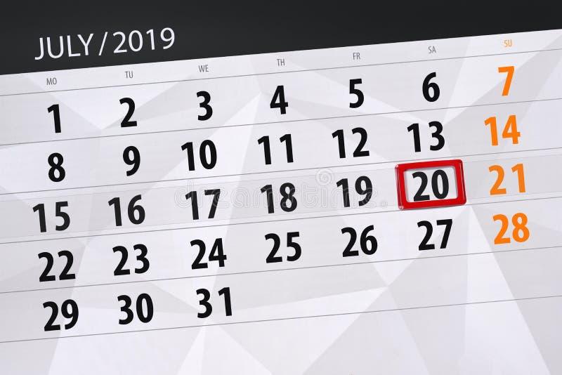 Planificateur de calendrier pour mois en juillet 2019, jour de date-butoir, samedi 20 photos stock