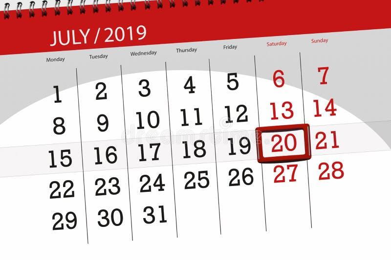 Planificateur de calendrier pour mois en juillet 2019, jour de date-butoir, samedi 20 photo libre de droits