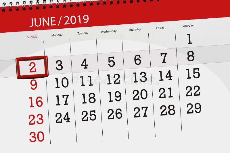 Planificateur de calendrier pour mois en juin 2019, jour de date-butoir, 2, dimanche image libre de droits