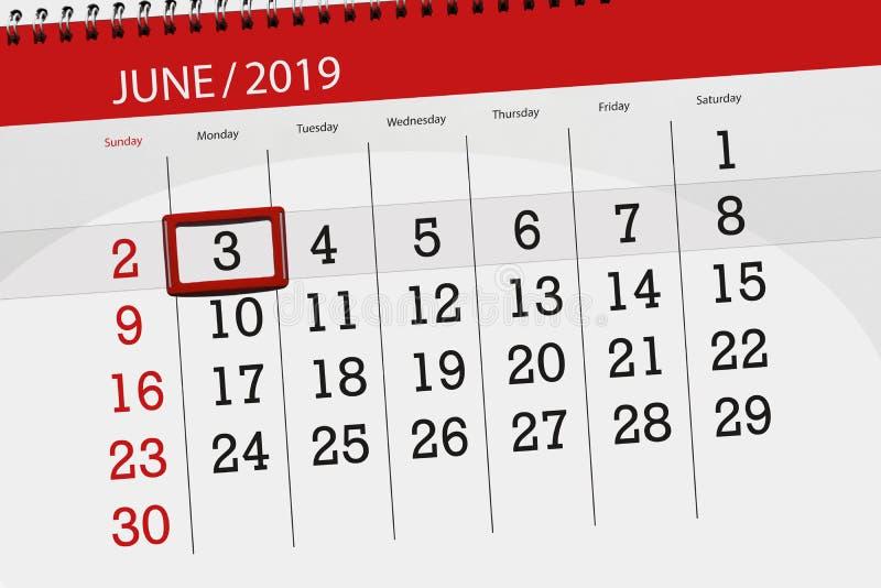 Planificateur de calendrier pour mois en juin 2019, jour de date-butoir, 3, lundi photographie stock