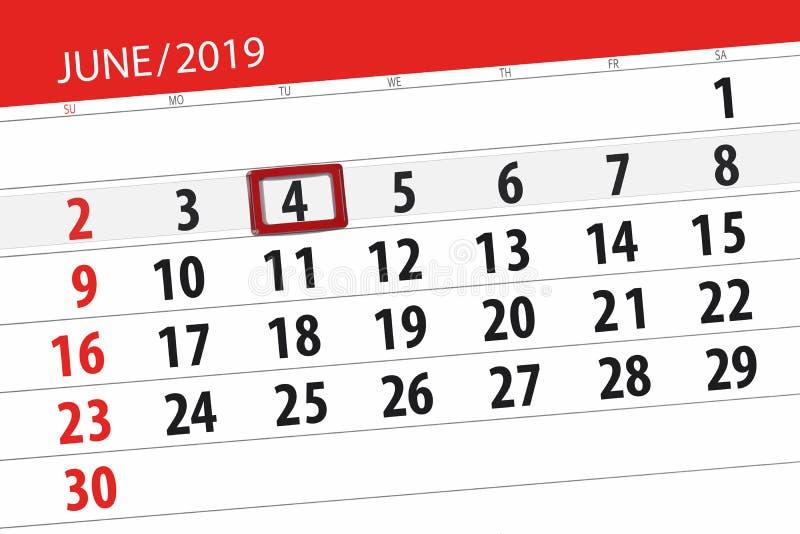 Planificateur de calendrier pour mois en juin 2019, jour de date-butoir, 4, mardi photo libre de droits