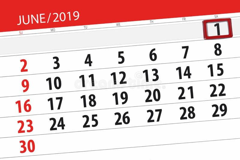 Planificateur de calendrier pour mois en juin 2019, jour de date-butoir, 1, samedi illustration libre de droits