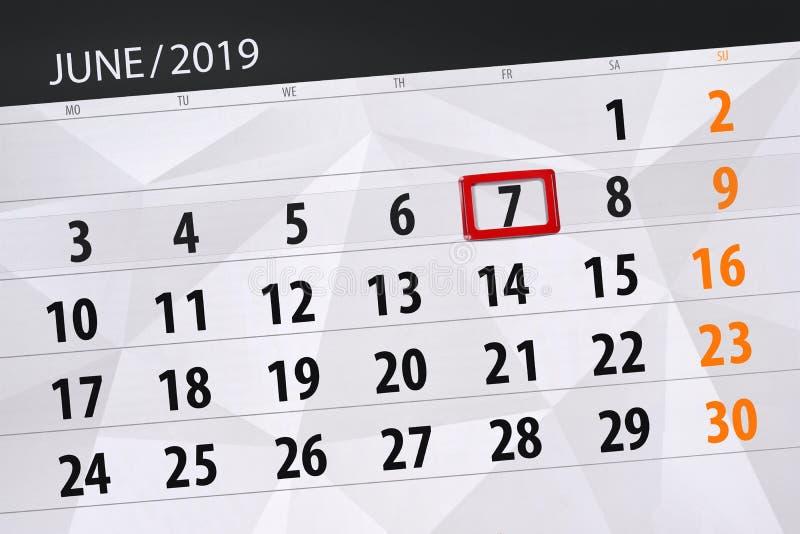 Planificateur de calendrier pour mois en juin 2019, jour de date-butoir, 7, vendredi illustration libre de droits