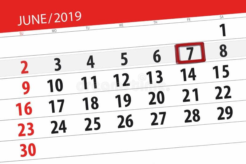 Planificateur de calendrier pour mois en juin 2019, jour de date-butoir, 7, vendredi photo stock