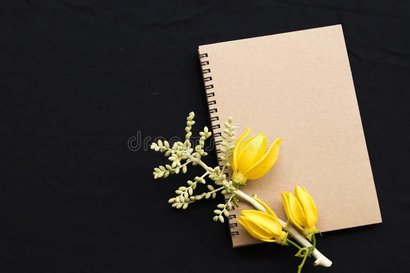 Planificateur de carnet pour le travail d'affaires avec le ylang de ylang de fleur photographie stock libre de droits