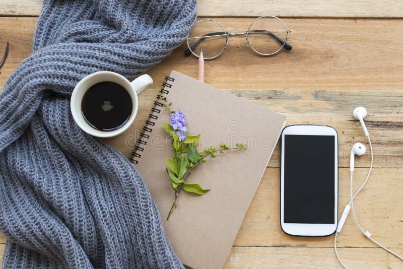 Planificateur de carnet pour le travail et le café d'affaires images stock