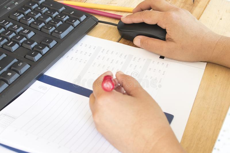 Planificateur de carnet, relevé de compte financier pour le travail d'affaires image libre de droits