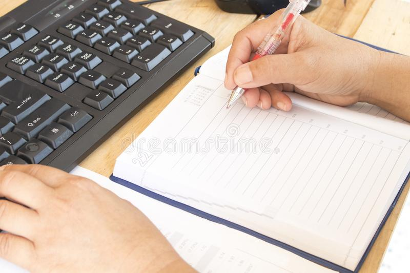 Planificateur de carnet, relevé de compte financier pour le travail d'affaires image stock