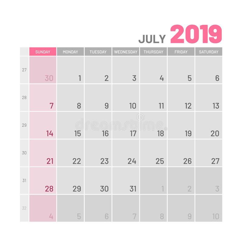 Planificateur de couleur claire pratique, 2019, juillet, plat illustration stock