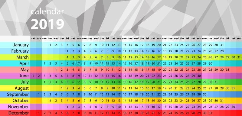 Planificateur de mur de calendrier pendant les 2019 années Ensemble coloré de vecteur Descripteur pour votre conception illustration de vecteur