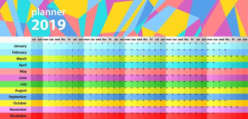 Planificateur de mur de calendrier pendant les 2019 années Ensemble coloré de vecteur Descripteur pour votre conception illustration stock