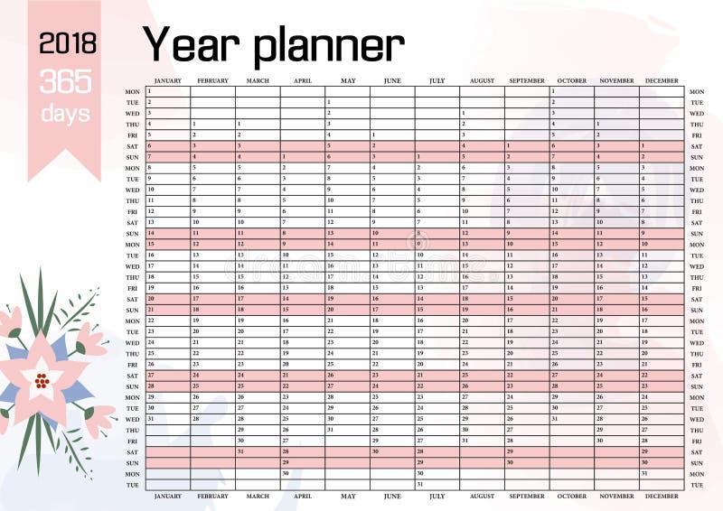 Planificateur 2018 de mur d'année illustration libre de droits