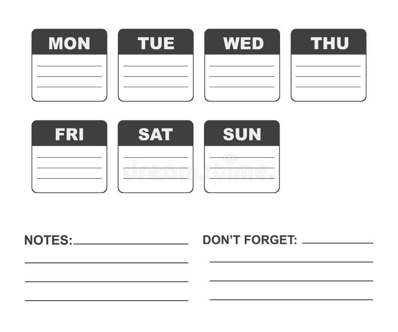 Planificateur de semaine de calendrier illustration libre de droits