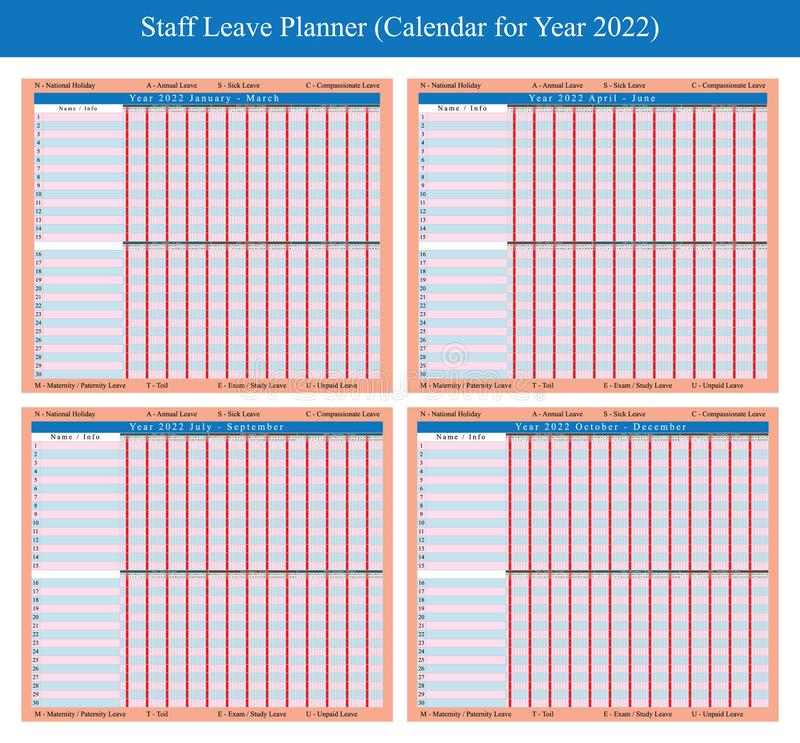 Planificateur 2022 de vacances de personnel illustration libre de droits