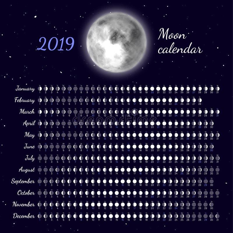 Planificateur des cycles lunaires à 2019 ans illustration de vecteur