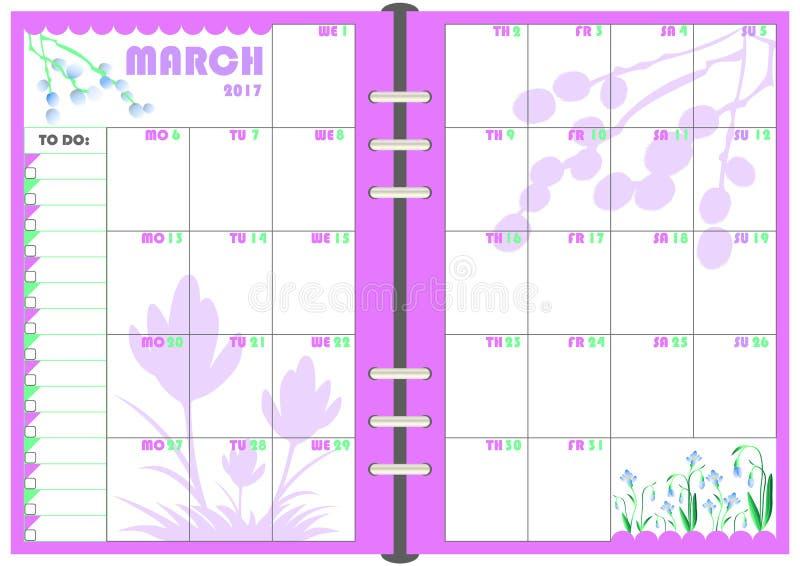 Planificateur en mars 2017 quotidien illustration stock