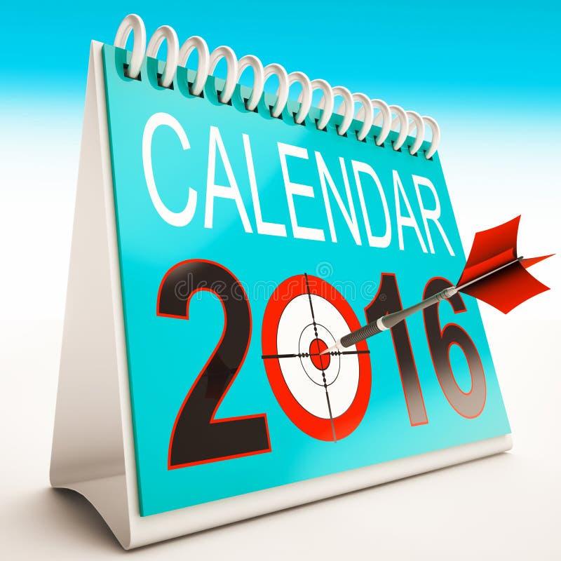 Planificateur et programme d'année de 2016 expositions de calendrier illustration libre de droits