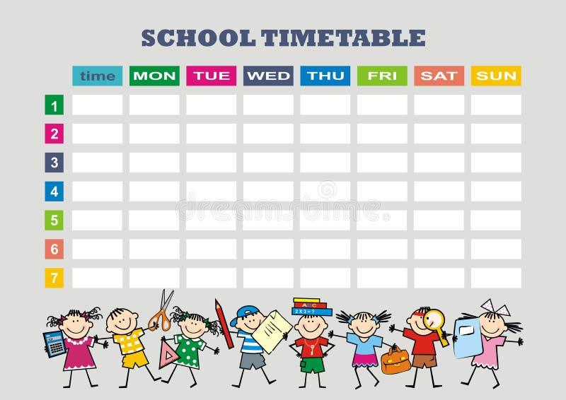 Planificateur hebdomadaire avec des jours et le temps, enfants heureux ENV illustration libre de droits