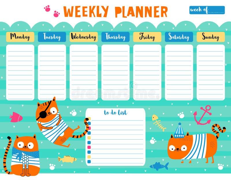 Planificateur hebdomadaire avec les chats mignons illustration stock