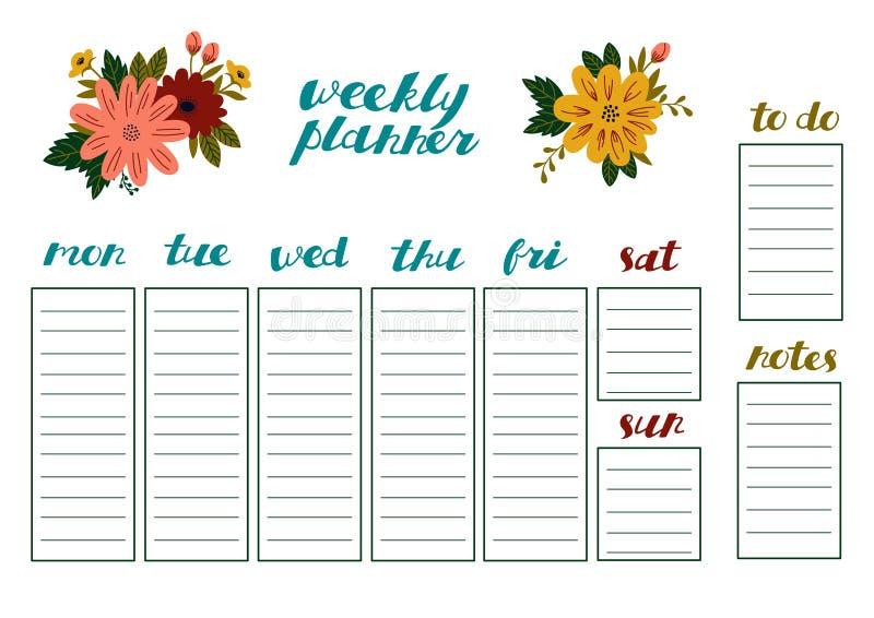 Planificateur hebdomadaire avec les fleurs, l'organisateur de papeterie pour des plans quotidiens et les programmes illustration de vecteur
