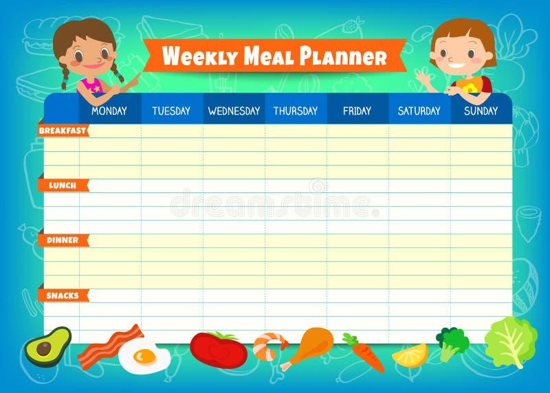Planificateur hebdomadaire de repas avec les personnages de dessin animé mignons d'enfants Un horaire de repas pour l'enfant à l' illustration de vecteur