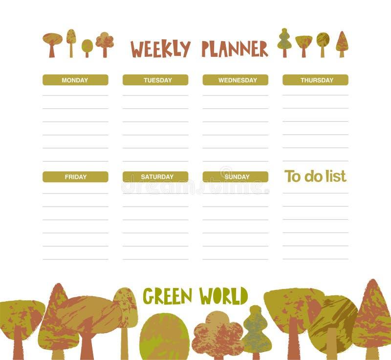 Planificateur hebdomadaire de vecteur avec des dinosaures, des arbres dans le style de bande dessinée et des éléments mignons illustration stock