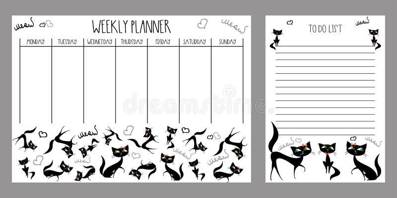 Planificateur hebdomadaire et pour faire la liste avec les chats mignons illustration de vecteur
