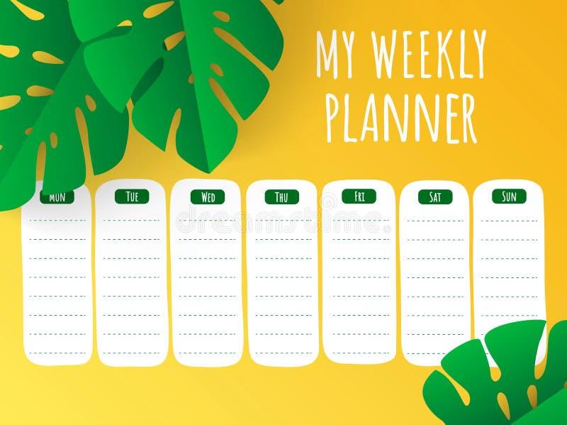 Planificateur hebdomadaire jaune tropical avec les feuilles coupées de papier Calibre stationnaire de vecteur illustration libre de droits