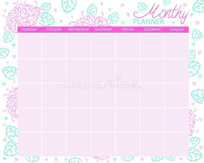 Planificateur mensuel Calendrier pour le mois, t?ches de planification illustration stock