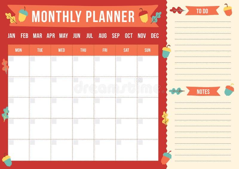 Planificateur mensuel d'automne avec les glands et les feuilles tirés de chêne illustration stock