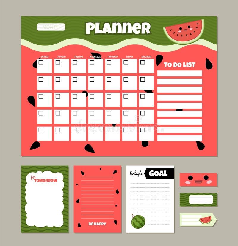 Planificateur mensuel de vecteur illustration de vecteur