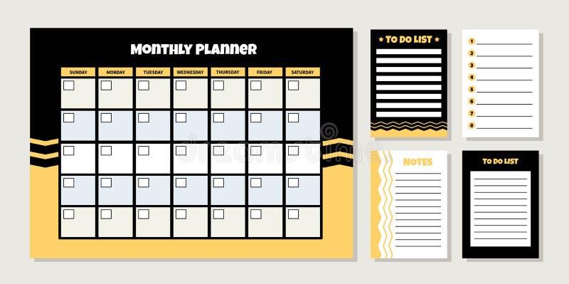 Planificateur mensuel de vecteur illustration libre de droits