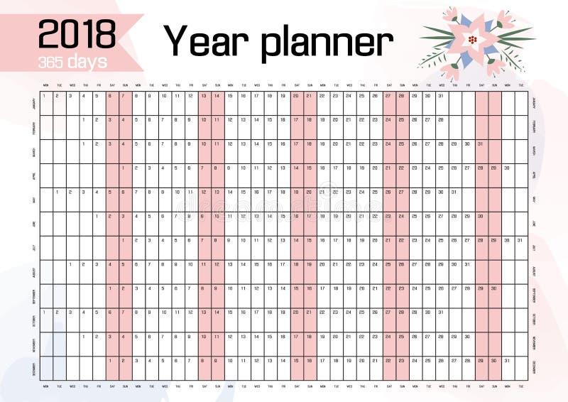 Planificateur pour le fonctionnement de 2018 murs illustration de vecteur